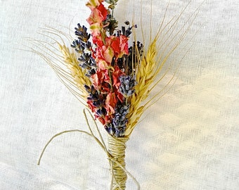 Autumn or Fall Wedding Lavender Coral Larkspur and Wheat Boutonniere or Corsage