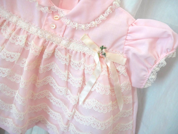 It's a Girl Vintage Pink Dress, Baby Clothes, Newborn, Lace and Bow Trim, Flowers, Buttons
