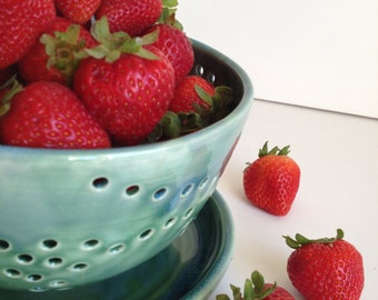 Reserved - Three - Large Berry Bowl - Colander - Forest Green - MADE TO ORDER