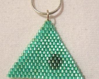 Seafoam and Teal Triangle Woven Delica Pendant