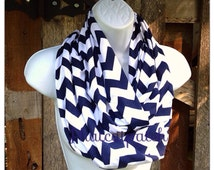 Fall scarves, Navy Chevron Scarf, Fall Scarf, women's infinity scarf, Navy Scarves, cotton/Rayon Blend, Knit Jersey, Penn State Scarf