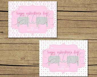 Custom Printable Classroom Valentine Cards - Elephants