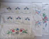 5 Vintage Embroidered Pillowcases with Crochet Trim -  Lot #12