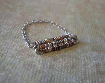 Mixed Metal Bead Chain Ring, Unique Boho Finger Ring, Jewelry for Teen Girl, Gift Granddaughter Beach Wear, Fun Jewelry, Rustic Ring