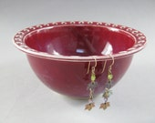 Ceramic Earring Bowl / Pottery Jewelry Bowl / Organizer in Cranberry Red