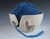 Ceramic Yarn Bowl / Pottery Knitting Bowl in White with Llama