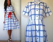 Vintage 60s 70s Picnic at the Lake Cobalt Blue Plaid Shirt Dress (size small, medium)