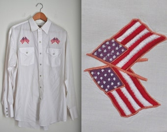 Vintage 60s 70s Libertine American Flag Patchwork Long Sleeved Snap Button White Western Shirt