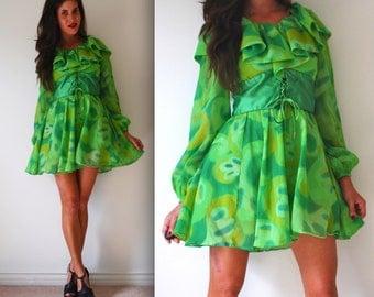 Vintage 60s 70s Under the Microscope Green Chiffon Mini Dress (size xs, small)