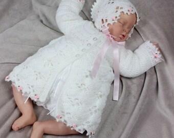 CROCHET PATTERN For Baby Fans Matinee Jacket & Bonnet  in 2 sizes PDF 263 Digital Download