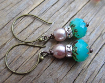 Pearls of the Ocean earrings with artisan hooks and swarovski bead caps