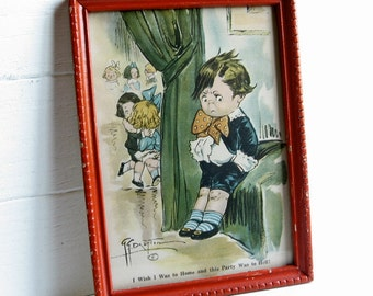 GG Drayton Framed Watercolor Print Boy at Party Morris & Bendien Wooden Frame Picture Grace Campbell Soup Kids
