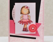Hand Stamped Greeting Card - 100 Percent Girl