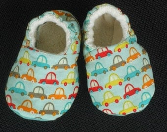Baby shoes,Cars,Baby Boy, Baby slippers, aqua,booties, cotton, organic sherpa, Shower Gift