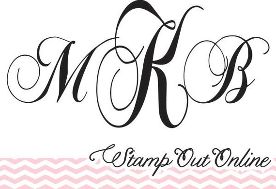 Monogram rubber stamp great for wedding invitations and favors