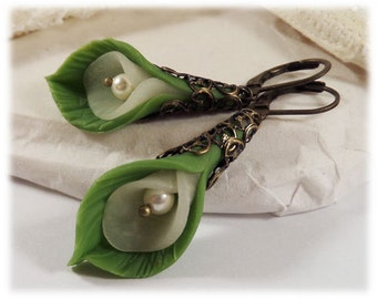 Calla Lily Leaf Earrings - Long Calla Lily Dangle Earrings