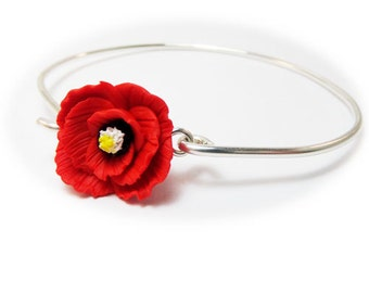 Poppy Bracelet Sterling Silver Bangle - Poppy Jewelry