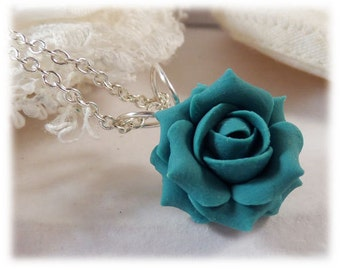 Dainty Teal Rose Necklace - Teal Rose Jewelry, Teal Flower Necklace