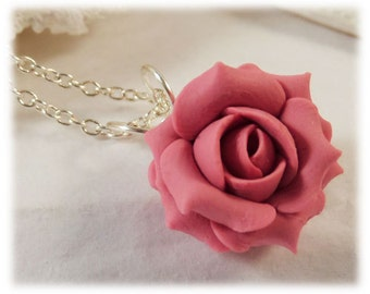 Pink Rose Necklace - Pink Flower Necklace, Pink Bridesmaid Necklace, Pink Rose Pendant, Pink Rose Jewelry, June Birthday Gift Idea