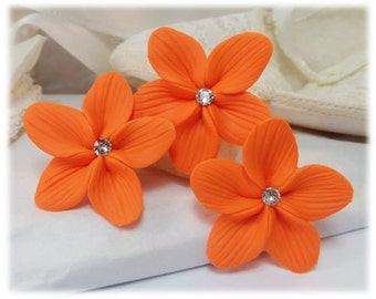 Orange Flower Hair Pins - Orange Flower Hair Clips, Orange Flower Bobby Pins, Orange Flower Stephanotis, Orange Bridal Hair Pins