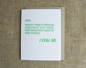 Letterpress Father's Day Card - Smartest Man