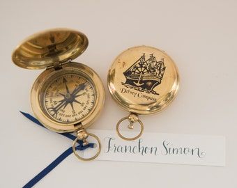Gold Sailing Ship Compass Place Card without calligraphy