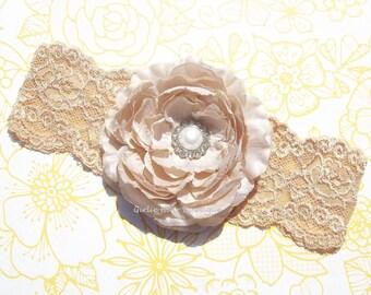 "Beige Flower Headband Tan Flower Headband 4"" Ranunculus Flower Pearl & Clear Rhinestone 2.5"" Lt Gold Headband Wedding Bridesmaid Flowergirl"