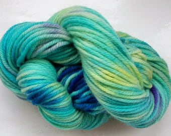 Hand painted merino yarn 100g dk blue turquoise lime yellow by SpinningStreak
