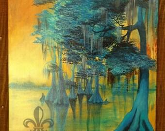 Cajun Bayou Sunset Cypress Trees acrylic painting 16x20 original