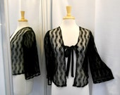 Vintage 1950s 50s Black Lace Bed Jacket Sheer Lingerie Tie Front Short Jacket Festival Style Black Bolero Bell Sleeves Loose Fit Size XS S