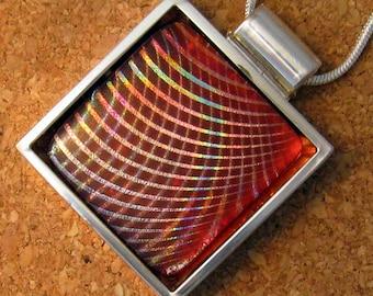 Red Dichroic Pendant Fused Glass Pendant  Dichroic Jewelry Fused Glass Jewelry