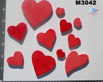 Red Hearts  - Kiln Fired Handmade Ceramic  Tiles to use in your Mosaic Projects M3042