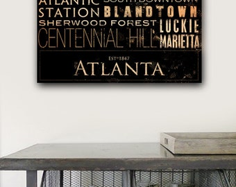 Atlanta georgia neighborhoods typography graphic art on gallery wrapped canvas by stephen fowler