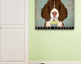 Springer Spaniel Cupcake Company  artwork graphic on gallery wrapped canvas by Stephen Fowler