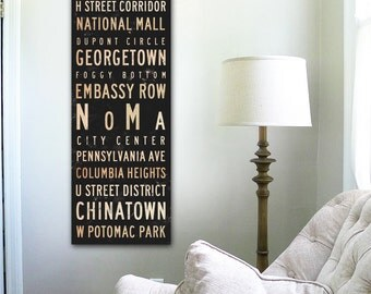 Washington D.C. neighborhoods typography graphic art on gallery wrapped canvas by stephen fowler