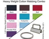 25 Key Fob Hardware / 10 Yards Heavy Weight Cotton Webbing Combo - 1.25 Inch - Plus Instructions - SEE COUPON