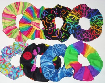 Rainbow Neon Peace Signs Fabric Hair Scrunchies by Sherry Ties Scrunchie Ponytail Holders Gay Pride