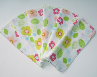 Cloth Baby Wipes Set of 6 2 Ply Flannel Basic Cloth Diaper Wipes Bright Flower Print Reusable Flannel Wipes, Family Cloth