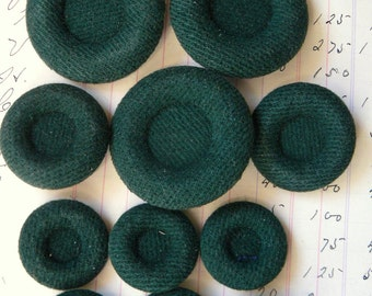 Vintage Fabric covered Buttons 11 total in assorted sizes - Hunter Green - perfect for upholstery, crafting, sewing