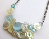 Ice Blue and White Winter Sparkle Vintage Button Necklace - buttonsoupjewelry