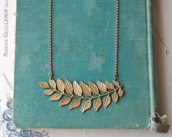 Brass fern leaves necklace lavender rhinestone crystal bridal wedding vintage style leaf