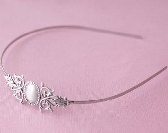 Antique silver bridal headband victorian renaissance filigree vintage style wedding hair accessory