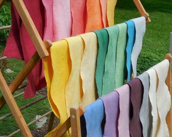 Wool Felt / 100% Merino Wool / Natural white / Choice of Felted Sheet at 7 X 27 inches or Prefelt at 12 X 38 inches