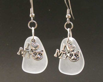 BEACH Glass and  I Love CAT charm Earrings by Lynn SRA Erg1182
