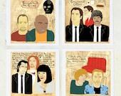 Illustration, Pulp Fiction, Film geek, Film buff gift, Quentin Tarantino, Unique gift, Movie wall art, Affordable art, Portrait, Print Set