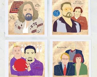 Illustration, The Big Lebowski, The dude art, Film Geek, Drawing, The Big Lebowski gift, Movie wall art, Film buff home decor, Print Set