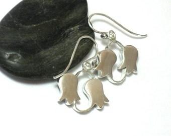 Sterling Silver Dangle Earrings, Hollow Form Sterling Drop Earrings,  Silver Flower Earrings, Flower Jewelry