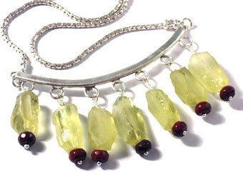 Raw Stone Necklace, Silver Stone Jewelry, Yellow Stone Jewelry, Natural Stone Necklace, Nugget Necklace, Lemon Quartz, Rough quartz Nuggets