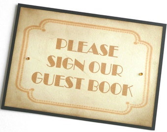 Guest Book Sign - Vintage Art Deco Black and Gold - All Handmade in the UK - Wedding
