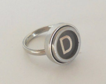 Typewriter Key Ring, Custom Made with the Key of your Choice, Pewter Ring, Heirloom Quality